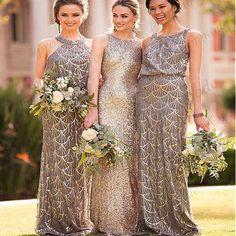 6613460115106 Seuqin prom dress,grey a-line prom dresses, long bridesmaid dresses, high