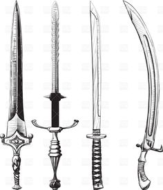 Illustration of Different set of swords and sabers made like drawing in ink vector art, clipart and stock vectors. Knife Tattoo, Sword Tattoo, Medusa Tattoo, Fantasy Sword, Fantasy Weapons, Fantasy Armor, Katana Swords, Samurai Swords, Sword Photography