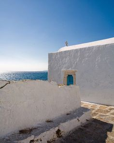"colinmillerphoto: ""Mykonos Church looking out to sea #travel #travelgram…"
