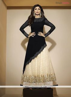 Shilpa Shetty Black Georgette A Line Lehenga Choli  Email - support@ethnicoutfits.com Call - +918140714515 What's app/Viber- +918141377746