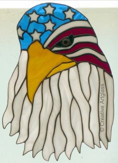 Stained Glass Eagle Window Hanging with an American Flag Bandana | CreativeArtglass - Glass on ArtFire