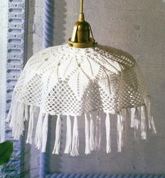 Crocheted Lamp Shade cover Alpine free by LaisviakCrochet on Etsy Lampe Crochet, Crochet Lampshade, Crochet Doilies, Crochet Home, Knit Crochet, White Lamp Shade, Pineapple Pattern, Light Crafts, Knitting Accessories
