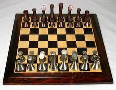 "The Copper/Steel Contemporary from ""Top 15 Original Chess Sets"""