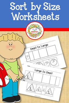 Let your little ones learn shapes and sizes with these fun color, cut, and paste worksheets!