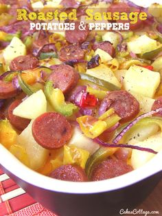 Sausage, potatoes, bell peppers and onions oven-roasted with garlic powder in an olive oil. What to Cook When You Don't Have Time to Cook: You know the feeling when you get home after a long day, it can be really hard to figure out how to cook healthy meals when you still have a million …