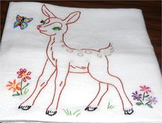Deer With Friendly Butterfly Kitchen Flour Sack Dish Towel