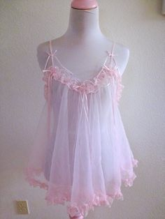 Vintage 1960's Pink Babydoll Lingerie Chiffon Lace Cute by Perurus, $20.00 - inexpensive intimates, leg avenue lingerie, intimates canada *ad