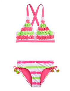Flower Stripe Bikini Swimsuit | Girls Swimsuits Swimwear | Shop Justice