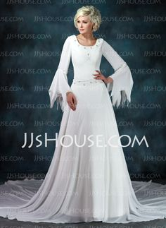 A-Line/Princess Scoop Neck Chapel Train Chiffon Wedding Dress With Ruffle Beadwork