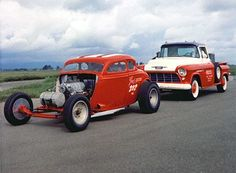 Beautiful push truck and drag car. Love this set-up. Cool Car Pictures, Traditional Hot Rod, Old Race Cars, Vintage Race Car, Drag Cars, Car Humor, Drag Racing, Hot Cars, American