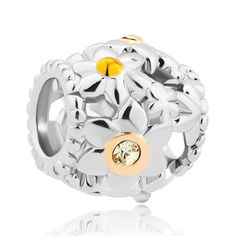 Charms Beads - flower pave with clear yellow crystal cz for beads charms bracelets fit all brands Image.