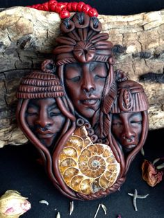 Three Ancestors Pendant Hand Sculpted Clay by FaceARTifacts