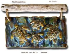 Driftwood Four Turtles Plaque (Earth Tones)