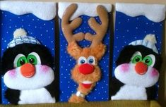 cuadros de navidad en icopor 2015 Christmas Characters, Gingerbread Cookies, Embroidery Designs, Diy And Crafts, Patches, Christmas Decorations, Quilts, Pillows, Christmas Quilting