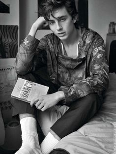 Timothée Chalamet + black and white