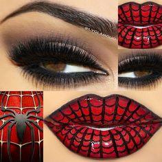 - Special lips for the season! Spider-Man Lips by Mineral gel eyeliner in Little Black Dress Motives for La La Mineral Lipstick in Manhattan Spiderman Makeup, Superhero Makeup, Spiderman Face, Formal Makeup, Glam Makeup, Eye Makeup, Beauty Makeup, Beauty Tips, Maquillaje Harley Quinn