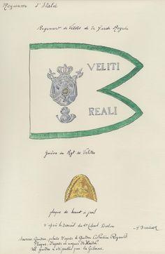 Italy; Royal Guard, Velite Regiment, Guidon and plate for Bonnet de Poli by H.Boisselier