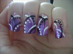 Purple splatter nails