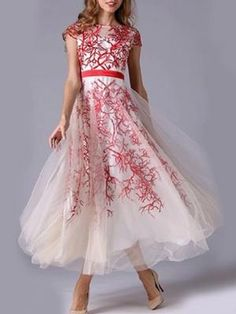 Red Embroidery Totem Organza Maxi Dress | Choies