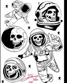 Ideas Tattoo Sleeve Filler Ideas Design Flash Art For 2019 Space Tattoo Sleeve, Tattoo Sleeve Filler, Sleeve Tattoos, Skeleton Tattoos, Skull Tattoos, Body Art Tattoos, Skeleton Art, Tattoo Flash Sheet, Tattoo Flash Art