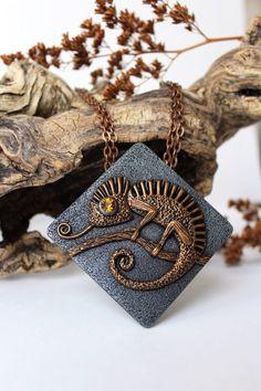 polymer clay pendantChameleon necklacependant by WildOnionArt
