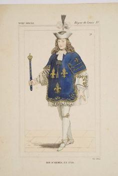 Gravure-XIX-Costume-3-Fleurs-de-Lys-Roi-dArmes-1720-Louis-XV-Monjoie-St-Denis