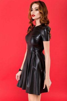 Black leather flared dress