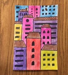 Overlapping Buildings – Art Projects for Kids