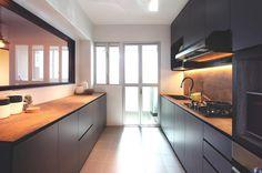 HNote: wood grain kompacplus & black/ dark color bottom cabinet. Note the laminate for the interior of open cabinet