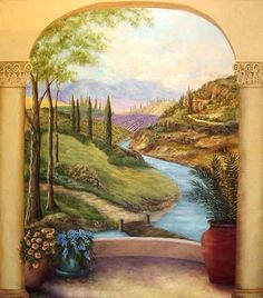 Miniature Printables - River and trees- good to glue on the outside of a dollhouse window.