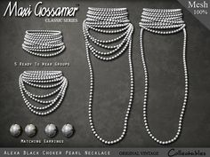 Maxi Gossamer Necklace - Alexa White Choker Pearls - #Secondlife
