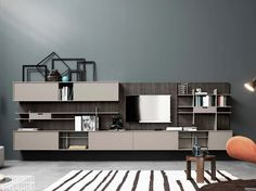 Wall-mounted lacquered melamine storage wall C_DAY K14 Collection by CESAR…