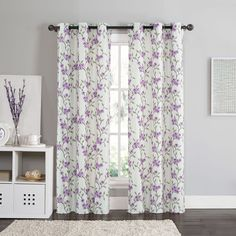 Vcny Rebecca Floral 84-inch Grommet Top Room Darkening Curtain Panel Pair (Lavender), Purple, Size 84 Inches