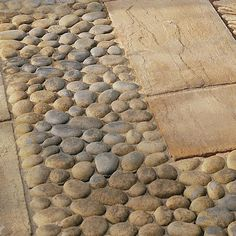 Pebble Patio Ideas - The stone decor has to have a particular height so it can live over the water level. There are lots of things to consider and deciding upon the perfec. by Joey Pebble Patio, Paving Stone Patio, Pebble Garden, Patio Slabs, Pebble Mosaic, Pebble Stone, Brick Patios, Paving Stones, Concrete Patio