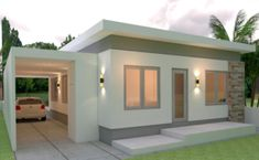 House Design Plans with 3 Bedrooms - Sam House Plans House Layout Design, Modern Bungalow House Design, Small Modern House Plans, Modern Small House Design, House Layouts, Simple House Design, Home Building Design, Home Design Plans, Model House Plan