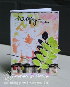 Weer een herfstkaartje vandaag.     I have another fall card for you today.       Voor de achtergrond van dit kaartje 'gestempeld' met ...