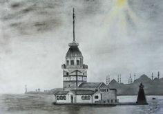 Landscape Pencil Drawings, Landscape Sketch, Shading Drawing, Color Poem, Lighthouse, Hogwarts, Mystic, Istanbul, Sketches