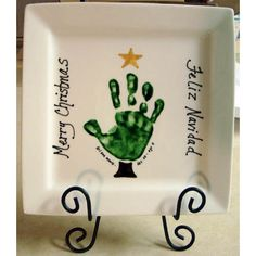 handprint plate for g'parents