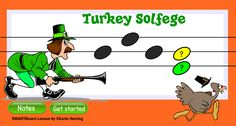 SMARTBoard music lesson Thanksgiving Solfege. Students hide the turkey by listening to the solfege melody and correctly choosing the ending pitch.  This lesson uses the Notebook 11 Activity Builder feature and accepts correct answers but rejects incorrect answers. Suitable for PreK - 3rd grade. Update 10/13: Now available from TpT including a downloadable iPad file for those with 1:1 ipads.