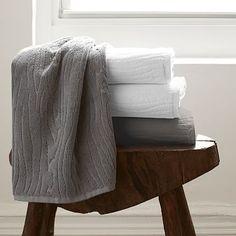 Organic Woodgrain Towels. I like them in white. On sale for $19 each. Hand towels $12.