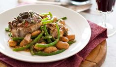 Lamb neck stew with beans. Oh-so-economical and even more delicious the next day. Serve with a glass of Cabernet Sauvignon. Lamb Dishes, Recipe Search, Cabernet Sauvignon, Casseroles, Stew, Baking Recipes, Delicious Desserts, Slow Cooker, Beans