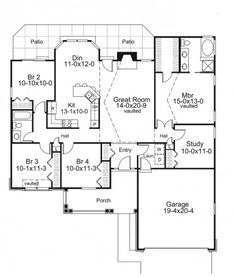Stylish Four Bedroom Ranch Plus Study (HWBDO76146) | Traditional House Plan from BuilderHousePlans.com
