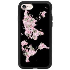 Flower Wanderlust -Black-world map - iPhone 7 Case And Cover