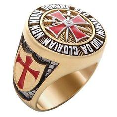 Masonic Knight Templar Ring New 18K Yellow Gold Plated  NON NOBIS DOMINE...