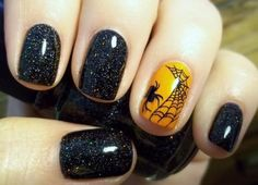 Halloween Nails: Black Shimmer with fun spiderweb detail