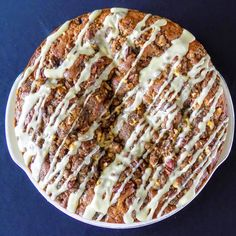 Rich, maple syrup coffee cake with walnut-pecan streusel and maple syrup icing