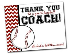 Team Thank You Card for Baseball Coach INSTANT Download by khudd