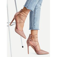SheIn(sheinside) Stiletto Strap Pointed Toe Pumps ($31) ❤ liked on Polyvore featuring shoes, pumps, nude, high heel pumps, high heel stilettos, nude pumps, pointy-toe pumps and nude shoes
