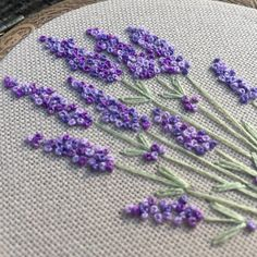 Embroidery hoop art bouquet of lavender, Hand embroidered blooming flowers gift, Framed floral wall art, Botanical hand stitched wall decor – crafts gifts French Knot Embroidery, Embroidery Flowers Pattern, Simple Embroidery, Hand Embroidery Stitches, Embroidery Hoop Art, Hand Embroidery Designs, Ribbon Embroidery, Embroidery Ideas, Embroidered Flowers