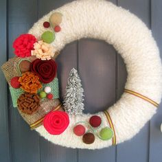 White Red and Pink Christmas Wreath by CreativeHandsBoston on Etsy, $38.50